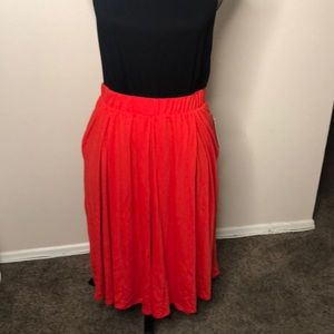 Solid Red LulaRoe Madison Skirt with pockets